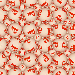Spheres with the image of currency form seamless texture