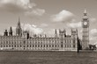 London - Palace of Westminster. Sepia tone.