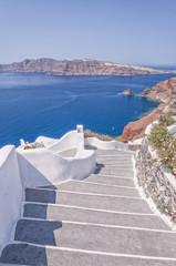 Santorini steps down to the caldera