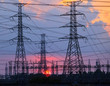 beautiful sunset behind electricity plant industry estate use as - 73414851