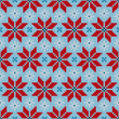 Poinsettia Red/Blue Seamless Pattern Knitted