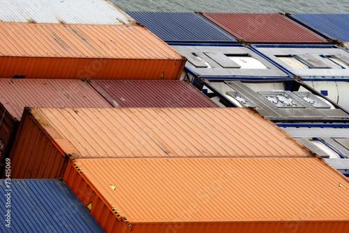 canvas print picture Containerschiff Nahaufnahme