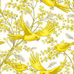 Seamless Pattern with Sprig of Mimosa