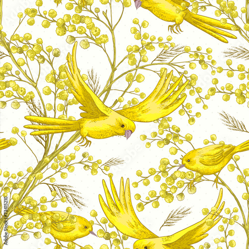 Seamless Pattern with Sprig of Mimosa © depiano