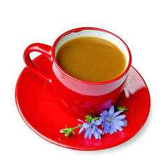 Chicory drink in red cup on saucer