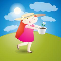 Girl is holding a flowerpot