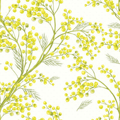 Seamless Spring Pattern with Sprig of Mimosa.