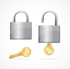 Vector locked and unlocked padlock gold