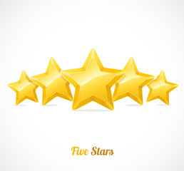 Vector star rating with five gold stars concept