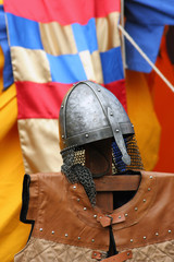 Knight's metal helmet and waistcoat