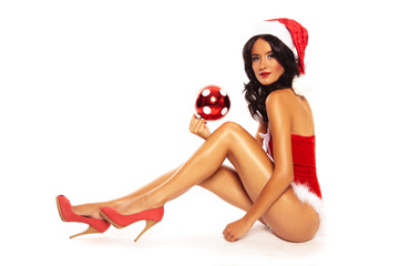 Christmas Beauty on white background - sexy long legs