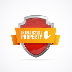 Intellectual property Protect shield on white background