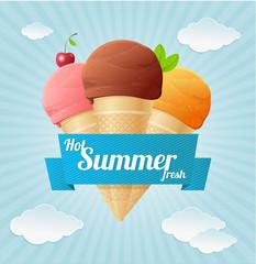 Vector summer Vintage Ice Cream Poster.