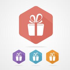 Gift box sign vector icon. Present