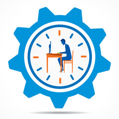 work on time concept design vector