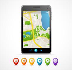Vector mobile phone navigation set. infographics