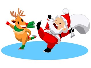 Santa Claus and reindeer ice skating illustration