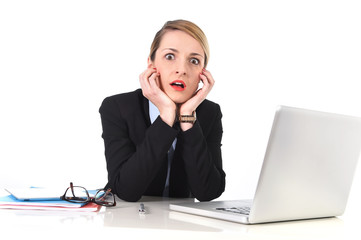 businesswoman at office working with laptop in stress upset