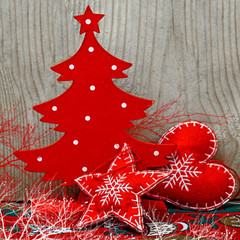 Christmas red wooden decor