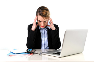 young stressed woman with headache working at computer