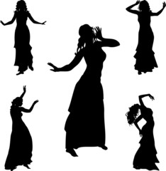 Five silhouettes of belly dance dancer