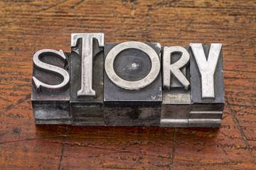 story word in metal type