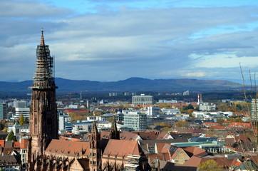 Freiburger Münsterturm im Herbst
