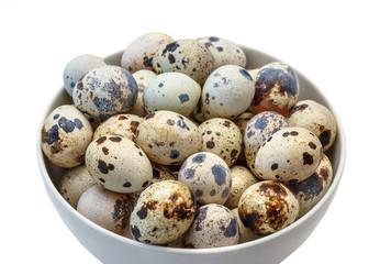 Quail eggs in plate