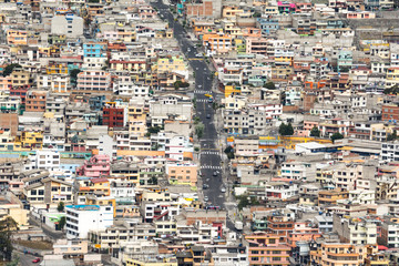 Suburbs of Quito from Panecillo hill, Ecuador