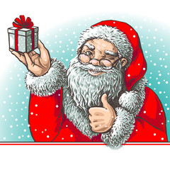 winking Santa Claus with gift