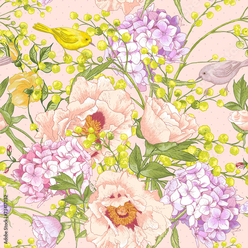 Gentle Spring Floral Seamless Background