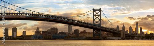 Philadelphia skyline panorama at sunset, US