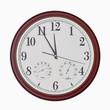 Leinwandbild Motiv Quartz wall clock with hygrometer and thermometer
