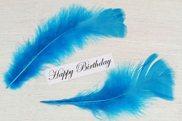 Happy birthday card with two blue feathers
