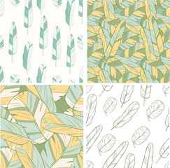 four seamless patterns with feather