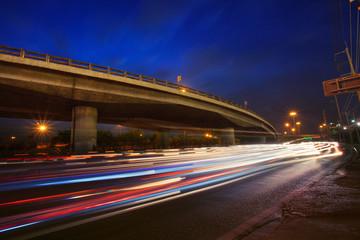 traffic lighting on rush hour road and express ways bridge again