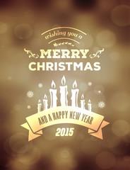 Merry christmas vector against golden background