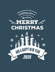 Merry christmas vector against blue background