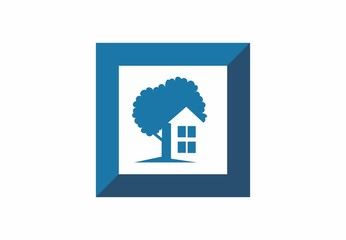 real estate, home, house project, cube logo vector