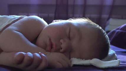 face of newborn sleeping