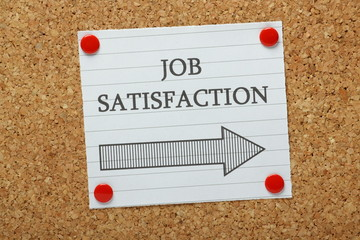 Job Satisfaction This Way sign on a notice board