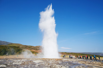 Geyser Strokkur eruption in the Geysir national park, Iceland.