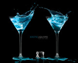 Cocktail Glasses with Blue Vodka. Style and Celebration Concept