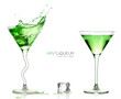 Martini Glasses with Splashing Green Cocktails. Template design - 73421000
