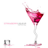 Stylish Cocktail Glass with Colored Liquor Splashing. Template