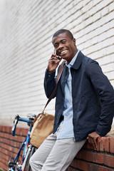 smiling phone african man