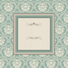 vintage frame on victorian seamless background