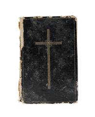 Bible isolated on white. Top view.