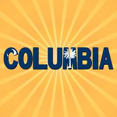 Columbia flag text with sunburst illustration