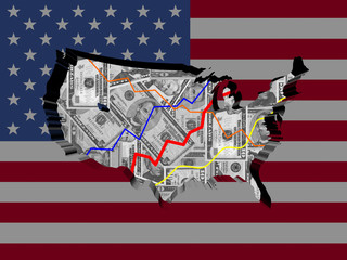 USA map with flag and graphs on dollars illustration